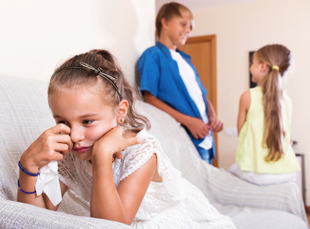 unfaithfulness: Morose little girl is jealous sister of stepbrother indoors