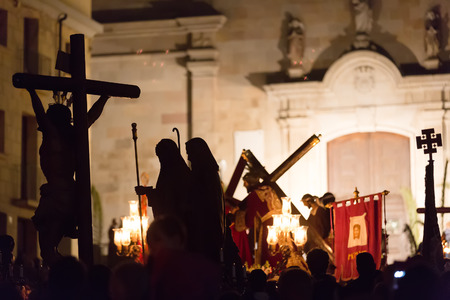 semana santa: BADALONA, SPAIN - APRIL 2, 2015: Evening procession during Holy Week in Badalona. Semana Santa   is Christian  processions on  streets of Spanish cities and town