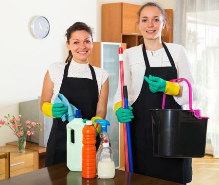 cleaning crew: Cheerful professional cleaners crew make cleaning in the house Stock Photo