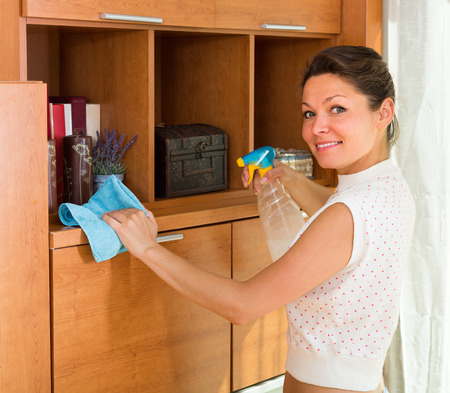 shred: Happy smiling  young housewife cleaning cabinet with sprayer and shred