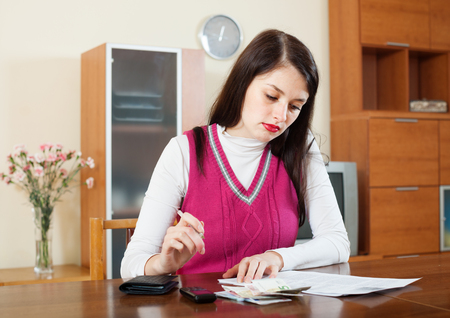 parsimony: serious woman thinking about the financial problems  at home