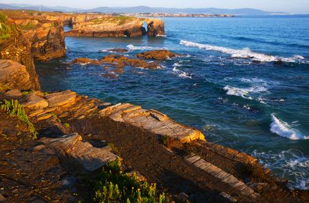 turistic: Coast at  As Catedrais beach - it is the turistic name of Praia de Augas Santas (Beach of the Holy Waters). Galicia,   Spain