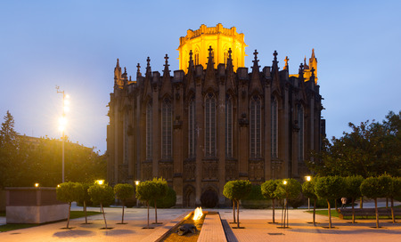 gasteiz: Evening view of Cathedral of Mary Immaculate (New Cathedral), built and consecrated in the 20th century, in High Gothic style. Vitoria-Gasteiz, Spain