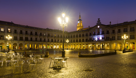 gasteiz: Evening view of  New Square and city hall. Vitoria-Gasteiz,  Spain