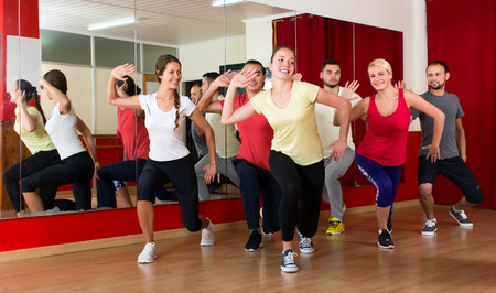 merry dancers: Group of healthy men and woman training on a dancing lesson in a gym