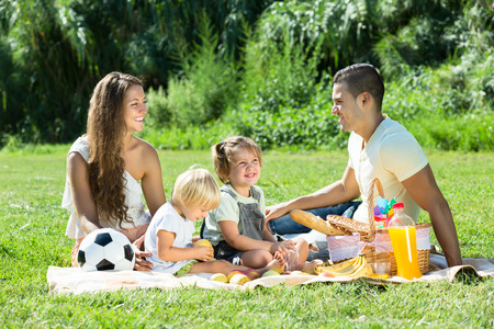picnic park: Young smiling family of four having picnic at meadow at summer day
