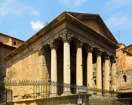 2nd century: Roman temple of Vic, Spain. The building dates from the early 2nd century Stock Photo