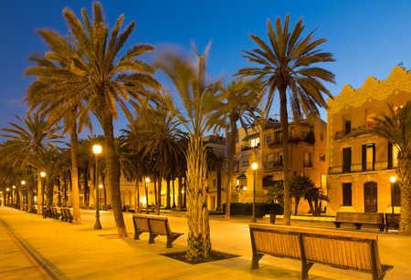 rambla: Evening view of Rambla passage at Badalona. Catalonia