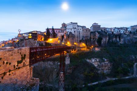 cuenca: dawn view of Hanging Houses on rocks in Cuenca