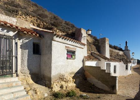 chinchilla: Dwellings houses-caves built  into mount.  Chinchilla de Monte-Aragon, province of Albacete