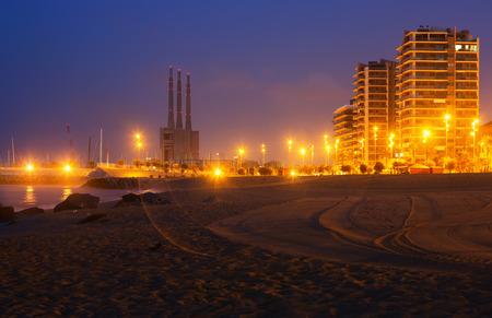 fabrica: Night view of beach at Badalona.  Spain
