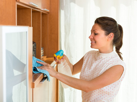 atomizer: Smiling young woman cleaning furniture at home with atomizer and rag