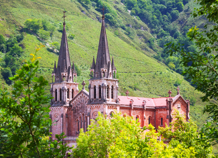 covadonga: Summer view of Sanctuary of Covadonga.  Cangas de Onis,  Spain