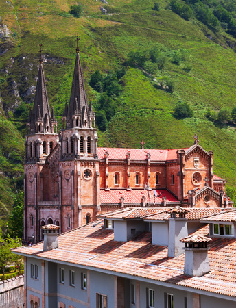 covadonga: Summer view of Sanctuary of Covadonga.  Cangas de Onis, Asturias Editorial