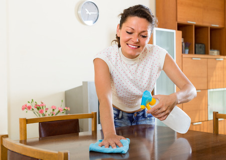 shred: Cheerful young woman cleaning furniture at home with sprayer and shred