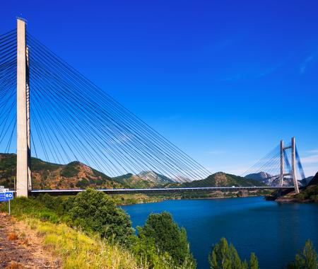 LUNA: LEON, SPAIN - JULY 2, 2015:  Bridge over reservoir of Barrios de Luna by engineer Carlos Fernandez Casado.  Leon