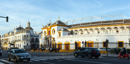 toros: SEVILLE, SPAIN - NOVEMBER 19, 2014:  Plaza de Toros, the location of the Bullfighting Museum. Seville, Andalusia Editorial