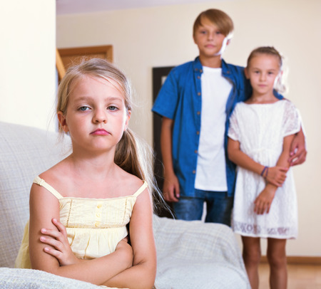 unfaithfulness: Upset offended girl  is jealous sister of stepbrother indoors