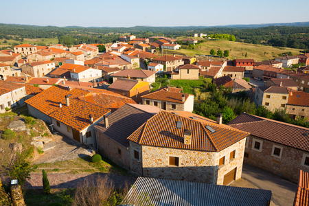 spanish village: Aerial view of residential districts in spanish village.  Hacinas, Castile and Leon ,   Spain