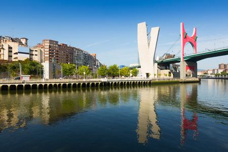 salve: Day view of La Salve Bridge with Guggenheim Museum  in background. Bilbao, Spain Editorial