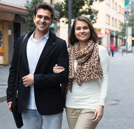 armenian woman: Handsome man having date with smiling girlfriend outdoors
