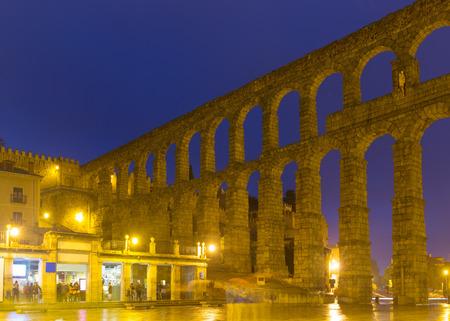 segovia: Old roman aqueduct in night. Segovia Stock Photo