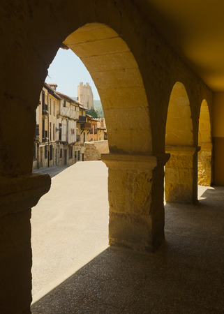 castile: View of Frias castle from arches.  Province of Burgos, Castile and Leon, Spain