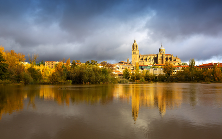 castile leon: Autumn view of Salamanca with Tormes  and Cathedral. Castile and Leon, Spain