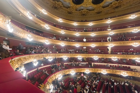 beethoven: BARCELONA, SPAIN - MARCH 27, 2015: Audience at Beethoven Concert in The Gran Teatre del Liceu, famous opera house at Barcelona, Catalonia.