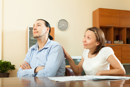 parsimony: Quarrel over home money and  family budget at home Stock Photo