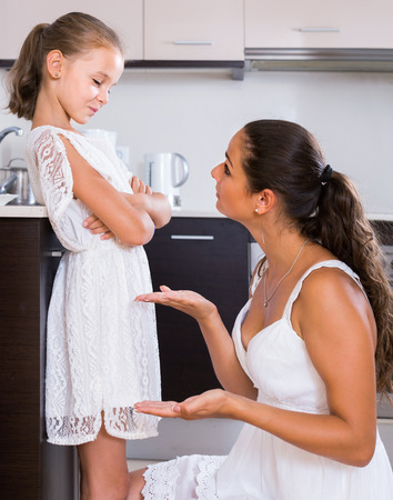 shaming: Upset russian  mother shaming daughter for misbehaviour in domestic interior