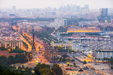 columb: Port Vell at Barcelona in evening time. Spain