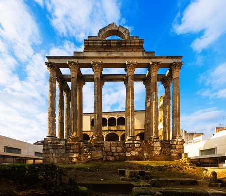diana: ancient temple of Diana in sunset time. Merida, Spain Stock Photo