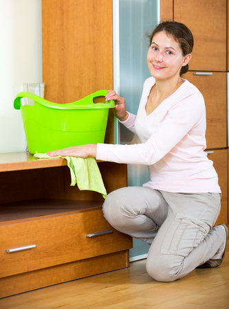 dusting: Portrait positive brunette girl dusting furniture at home and smiling