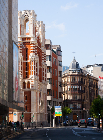 spanish homes: BILBAO, SPAIN - JULY 4, 2015: Day view  of street in Bilbao.  Basque Country, Spain