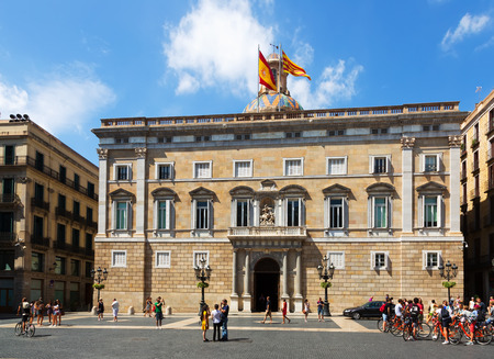 BARCELONA, SPAIN - SEPTEMBER 1, 2015: City hall at  Sant Jaume  square at the center of Barcelona