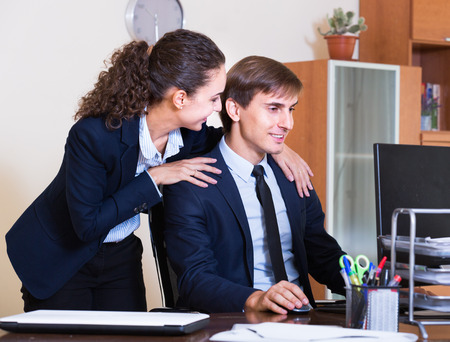 molestation: Unwanted  behaviour chief touching manager at work in office Stock Photo