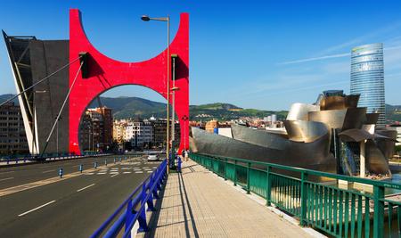 salve: BILBAO, SPAIN - JULY 4, 2015: Day view of La Salve Bridge with Guggenheim Museum. Bilbao, Spain Editorial