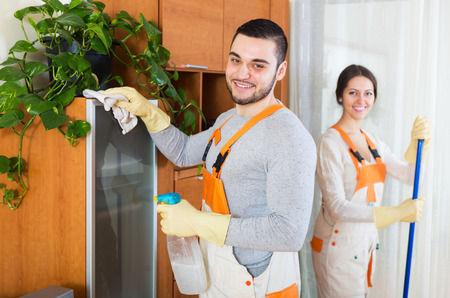 houseman: Cleaning premises young team is ready to work Stock Photo