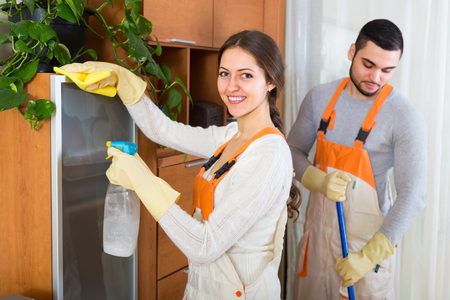houseman: Professional happy cleaners cleaning in room