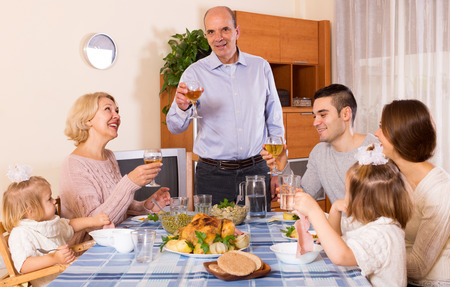bosom: Holiday dinner in the bosom of happy family indoor