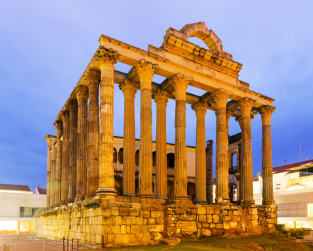 merida: ancient temple  in dawn. Merida, Spain