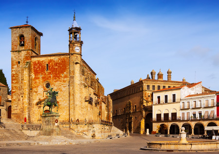 mayor: Plaza Mayor at Trujillo in autumn. Caceres, Spain