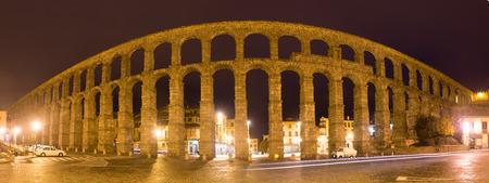 aqueduct: panorama of  Roman Aqueduct of Segovia in autumn night. Spain