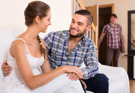 coming home: Surprised spouse coming home in wrong moment
