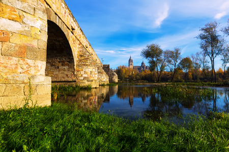 castile and leon: Old bridge over Tormes River in Salamanca. Castile and Leon, Spain