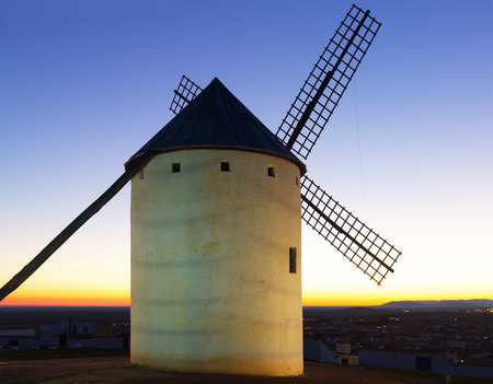 campo: windmill in sunset. Campo de Criptana Stock Photo