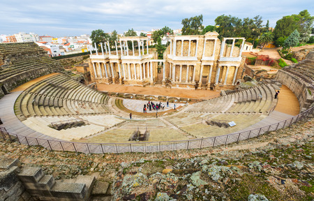 1st century: Ancient Roman Theatre  in  Merida, Spain. Built by the Romans  in end of the 1st century or early 2nd century Stock Photo