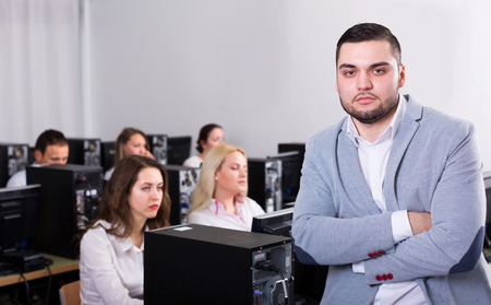 Angry sales department manager displeased of employees at office