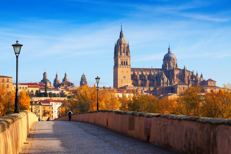 castile: Autumn view of Salamanca with old bridge  and Cathedral. Castile and Leon, Spain Stock Photo